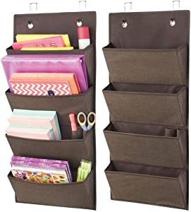 mDesign Soft Fabric Wall Mount/Over Door Hanging Storage Organizer - 4 Large Cascading Pockets - Holds Office Supplies, Planners, File Folders, Notebooks - Textured Print, 2 Pack - Espresso Brown