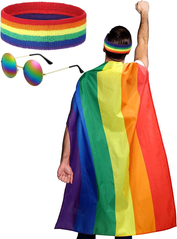 Rainbow Pride Cape Headband Sunglasses for Festivals Party Celebration and Daily Wear SATINIOR LGBTQ Gay Lesbian Pride Rainbow Set