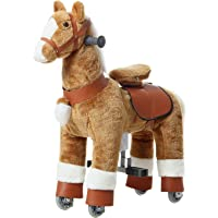 AhaTech Walking Horse Ride On Toy Plush Animal Brown Pony Small Size for Ages 3-6 Years Rockin' Rider Coffee Stable…