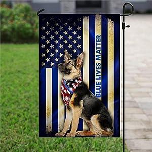 "Garden Flag Love Dog Flag, German Shepherd, Police Dog, Thin Blue Line, Back The Blue Yard Decor House Decor Flag Seasonal Banners for Patio Lawn Outdoor 12x18"""
