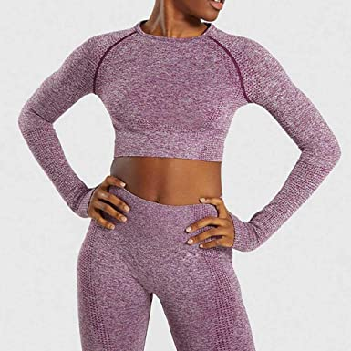 Womens Vital Seamless Yoga Shirt Crop Top Long Sleeve Sports Fitness Gym Elastic