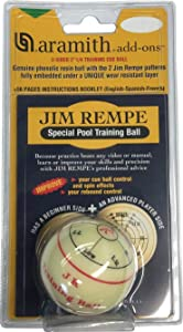 """Aramith Jim Rempe Training Cue Ball 2-1/4"""" Regulation Size Billiard Pool Ball With Instruction Manual Learn to Play Better"""