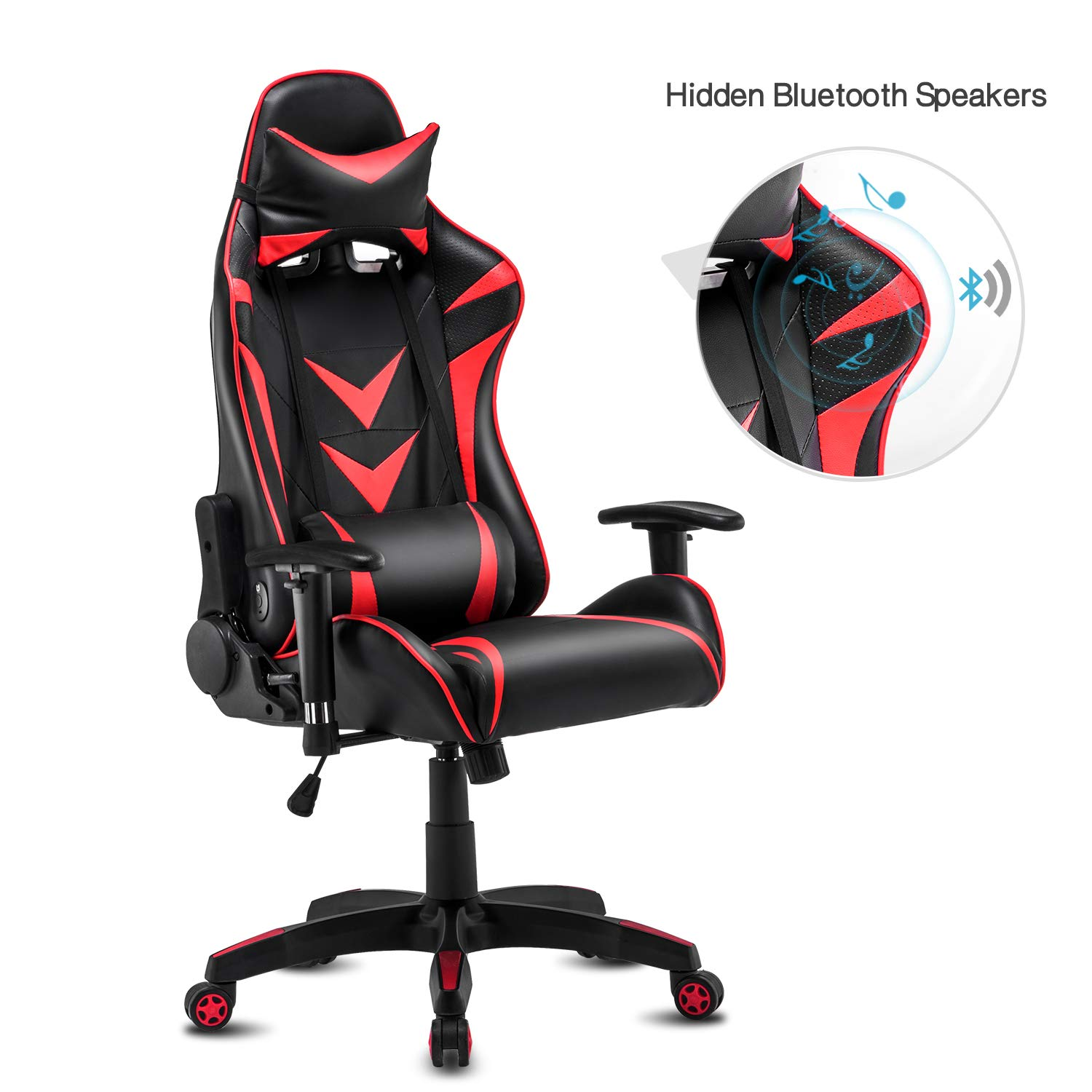 High-Back Swivel Gaming Chair Recliner with Bluetooth 4.1 Speakers & Lumbar Support & Headrest | Height Adjustable Ergonomic Office Desk Chair - Black & Red by Modern-Depo