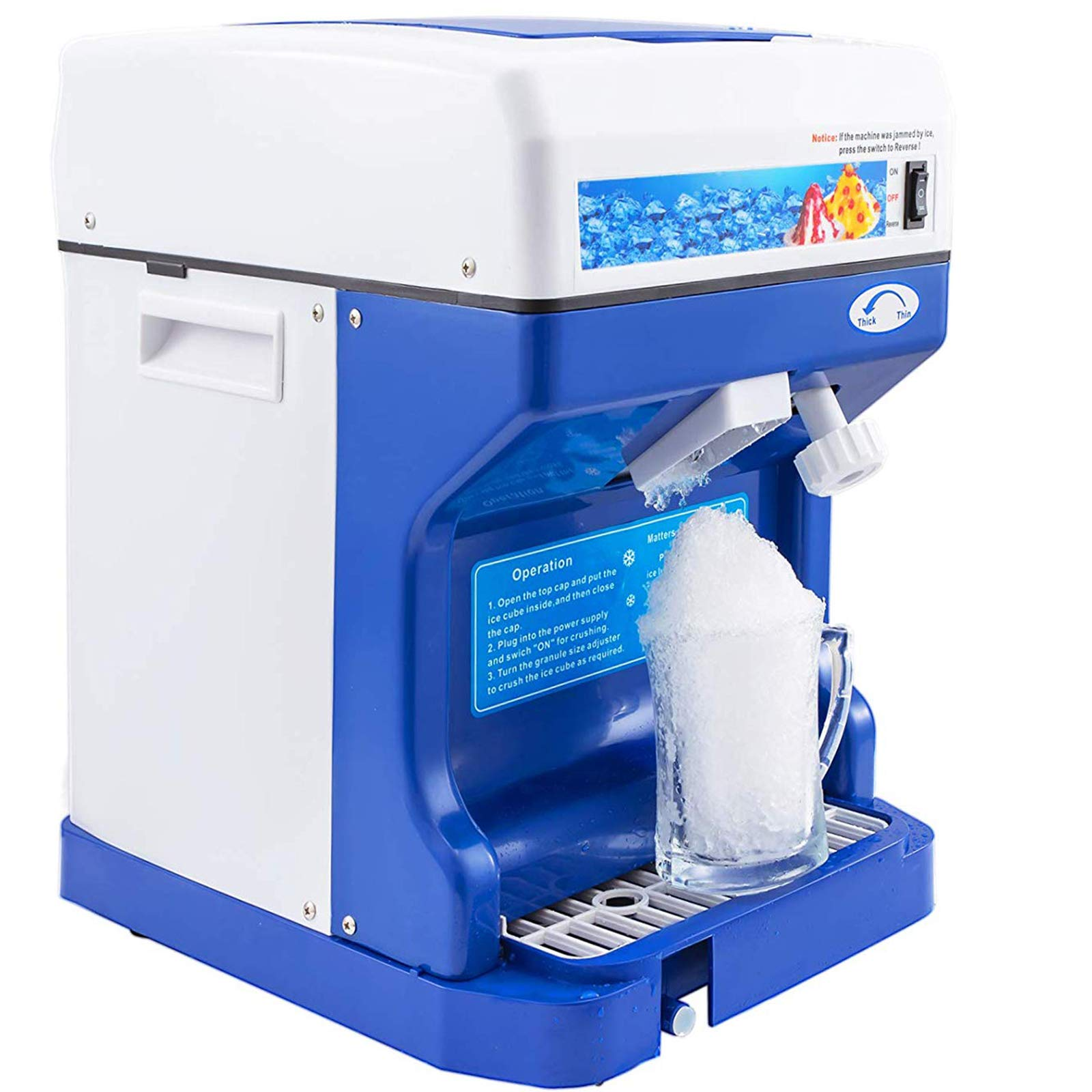 VEVOR Shaved Ice Crusher 250W Snow Cone Maker 110V 60hz Tabletop Ice Shaving Machine 265lbs/hr for Home and Commerical Use by VEVOR