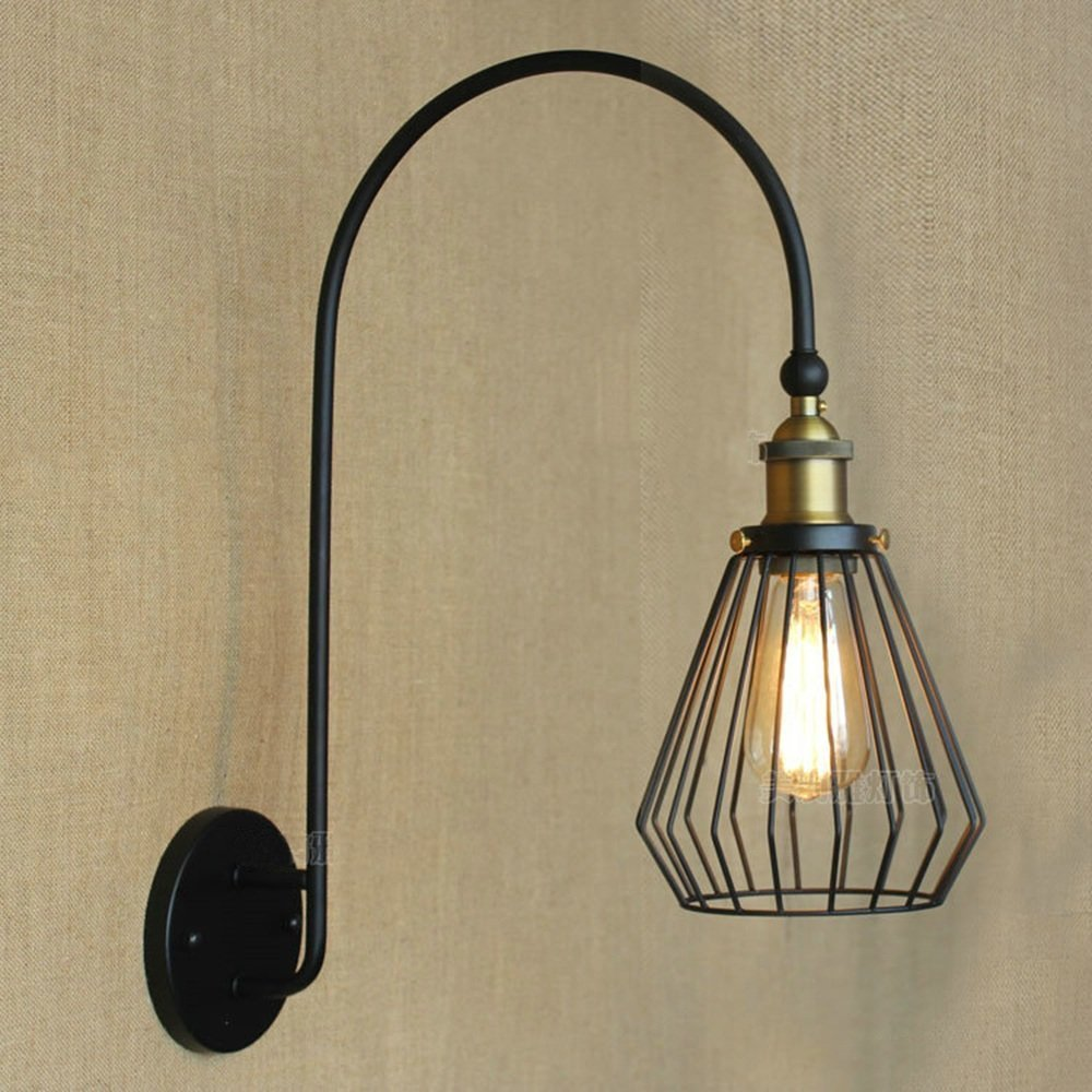 HOMEE Wall lamp- simple retro village pastoral bend iron wall lamp hotel villa bedrooms bedroom wall lamp --wall lighting decorations