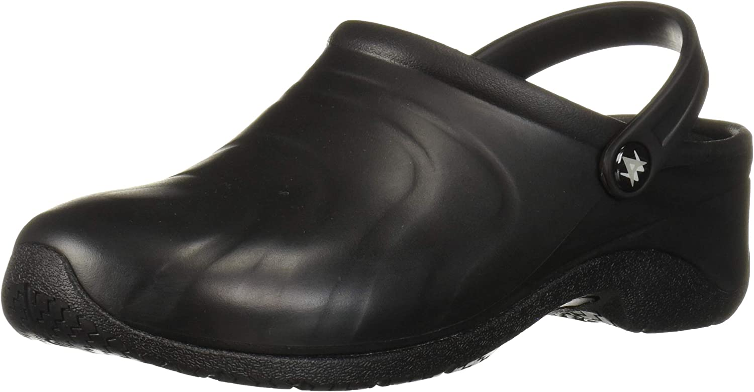 Anywear Zone Women's Healthcare Professional Injected Clog with Backstrap, 6W, Black (Wide)