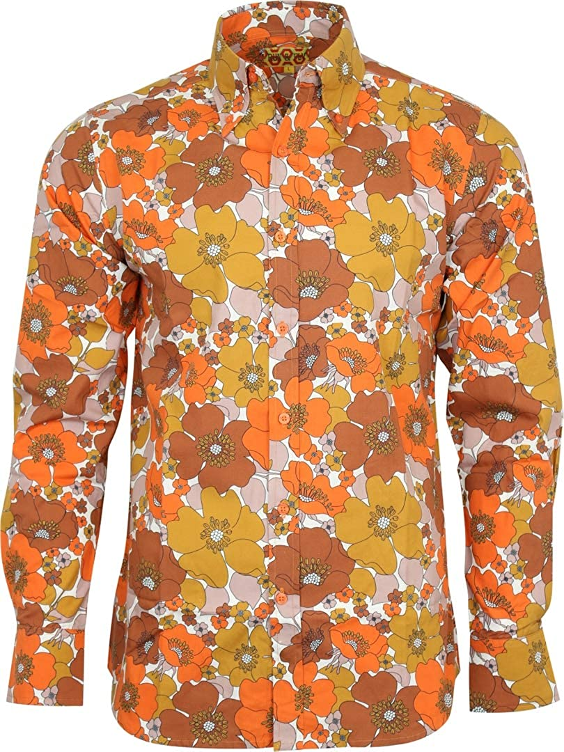 60s , 70s Hippie Clothes for Men Run & Fly Mens Flower Print Long Sleeved Shirt 60s 70s Psychedelic Mod Retro $39.95 AT vintagedancer.com