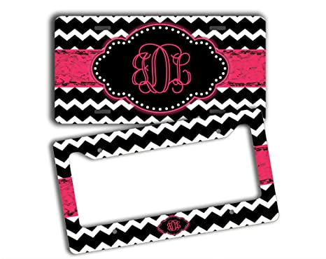 Amazon.com: Monogrammed chevron license plate and frame - Black ...