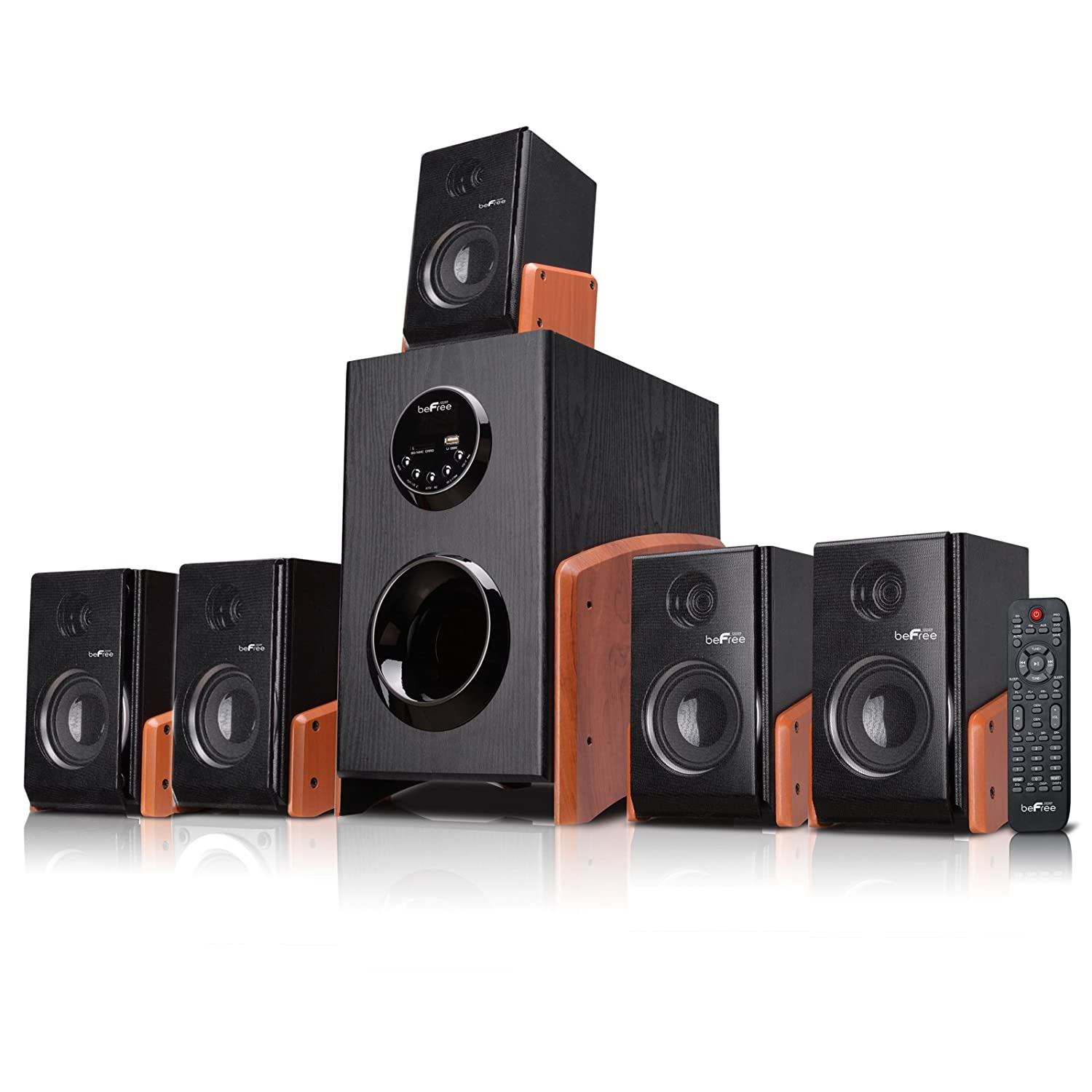 befree 5 1 channel surround sound home theater bluetooth speaker system wood new ebay. Black Bedroom Furniture Sets. Home Design Ideas