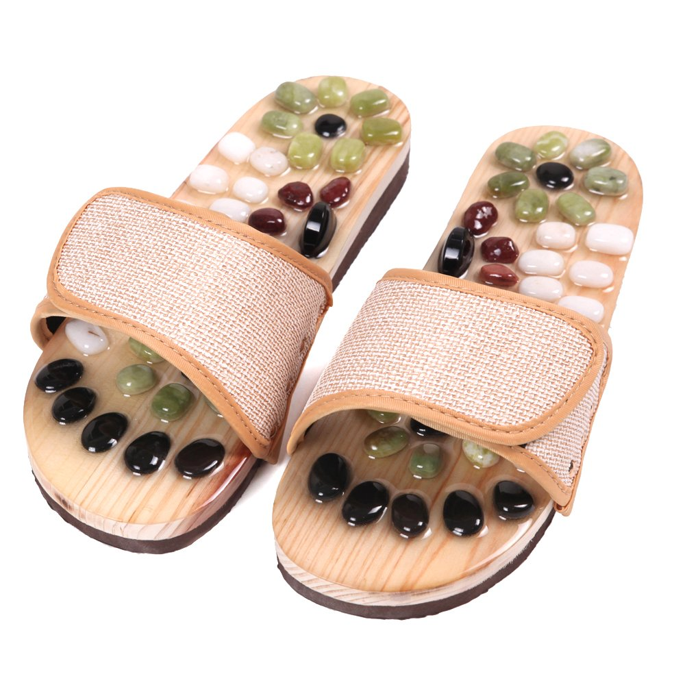 Aboval Foot Massage Slippers Massager Shoe with Natural Cobblestone Stone Linen Fabric L (Women 8.5/Men 7.5)