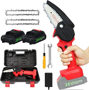 Mini Chainsaw 4 inch With 2PACK Batteries And 2 Chains, KOAKOMI 26V Cordless- Battery-Chainsaw,Portable One Hand Use Electric Chain Saw for Branch Wood Cutting Garden Tree Logging Trimming
