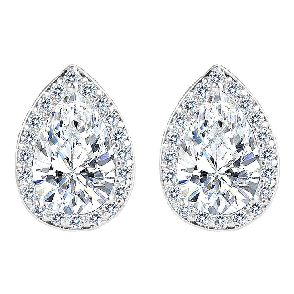 EVER FAITH Women's Cubic Zirconia Wedding Teardrop Prong Setting Stud Earrings Silver-Tone N03985-1
