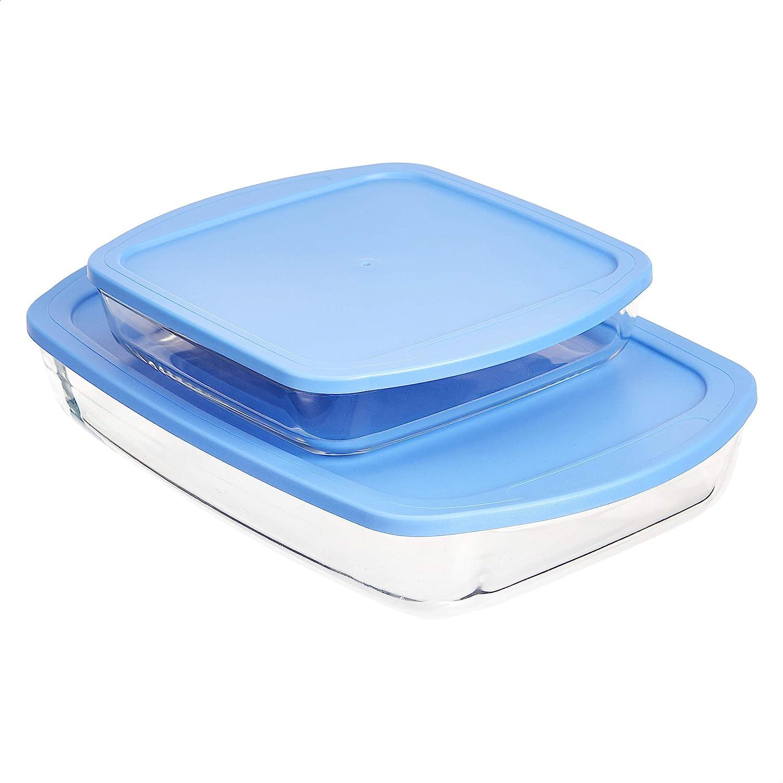 Amazon Basics Glass Oblong Oven Baking Dishes with BPA-Free Lids, Set of 2
