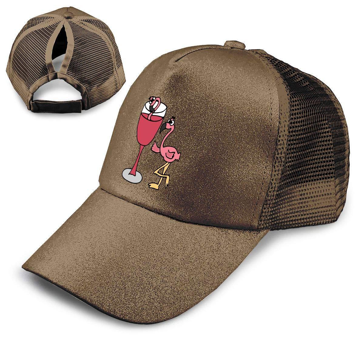 Flamingo in Wine Ponytail Messy High Bun Hat Ponycaps Baseball Cap Adjustable Trucker Cap Mesh Cap