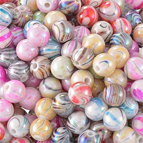 Lots Wholesale Acrylic Spacer Beads AB Color Pattern Round Mixed 8mm Dia DIY