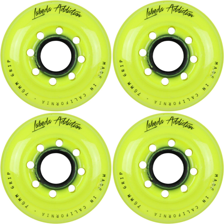 Labeda AddictionインラインRoller Hockey Skate Wheels Set of 4 イエロー 76mm