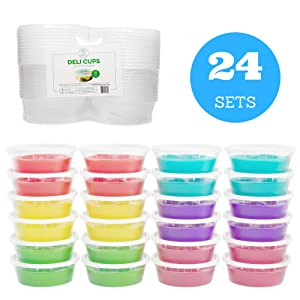 [NEW] Slime Containers with Airtight Lids (8 oz, 24 Pack) - Clear Plastic Food Storage Jars - Great for your slime kit - BPA Free | Leakproof - Microwaveable - Reusable - Dishwasher & Freezer Safe