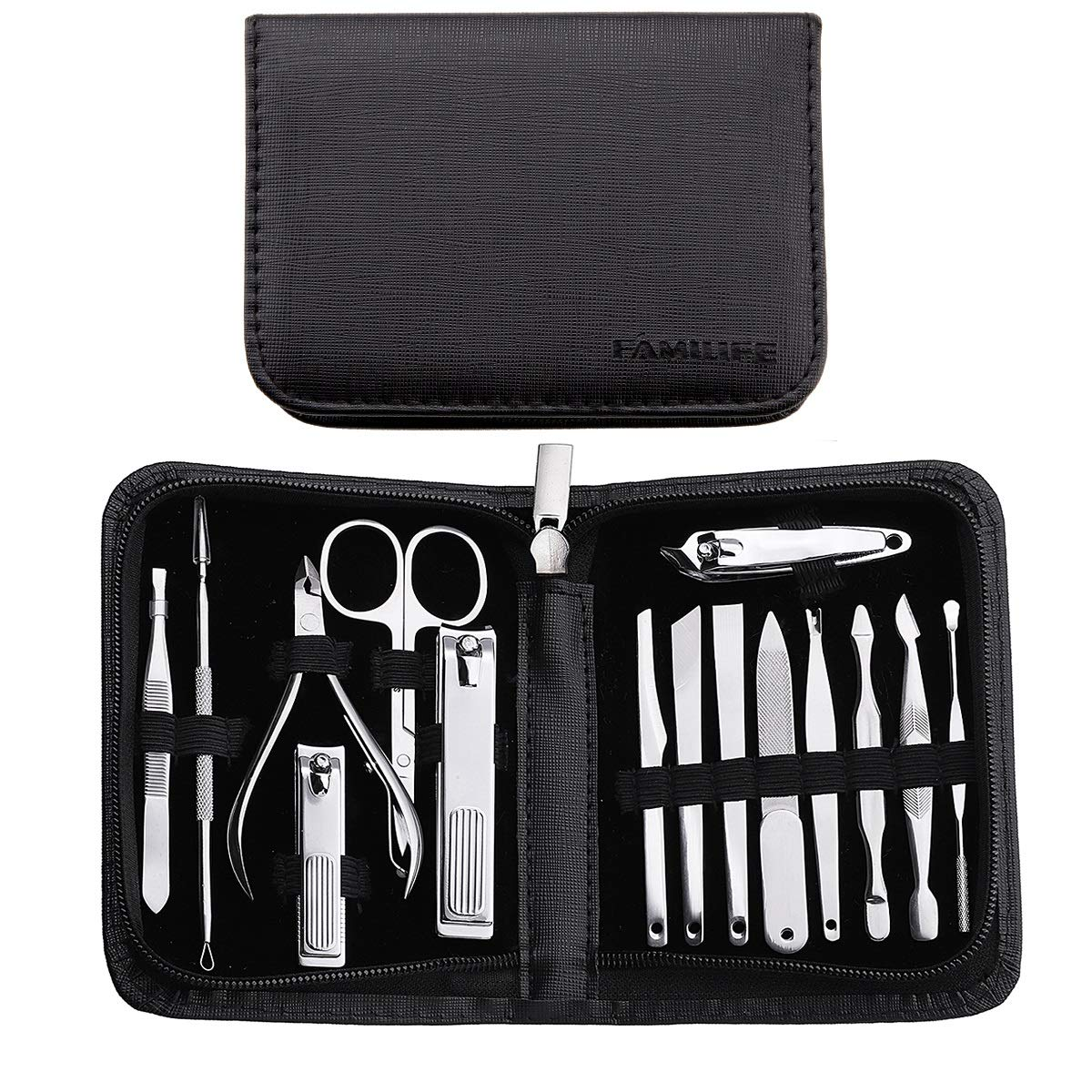 FAMILIFE F02 Manicure Set,15 in 1 Nail Clippers Professional Stainless Steel Manicure Kit Manicure Tools with Travel Case Grooming Kit for Women Men by FAMILIFE