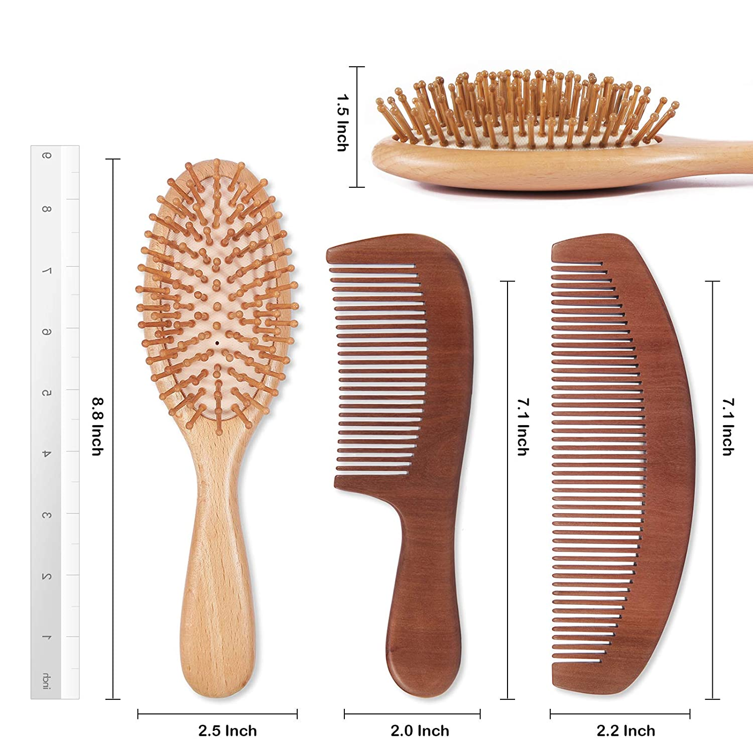 Natural Wood Hair Brush with Wooden Bristles