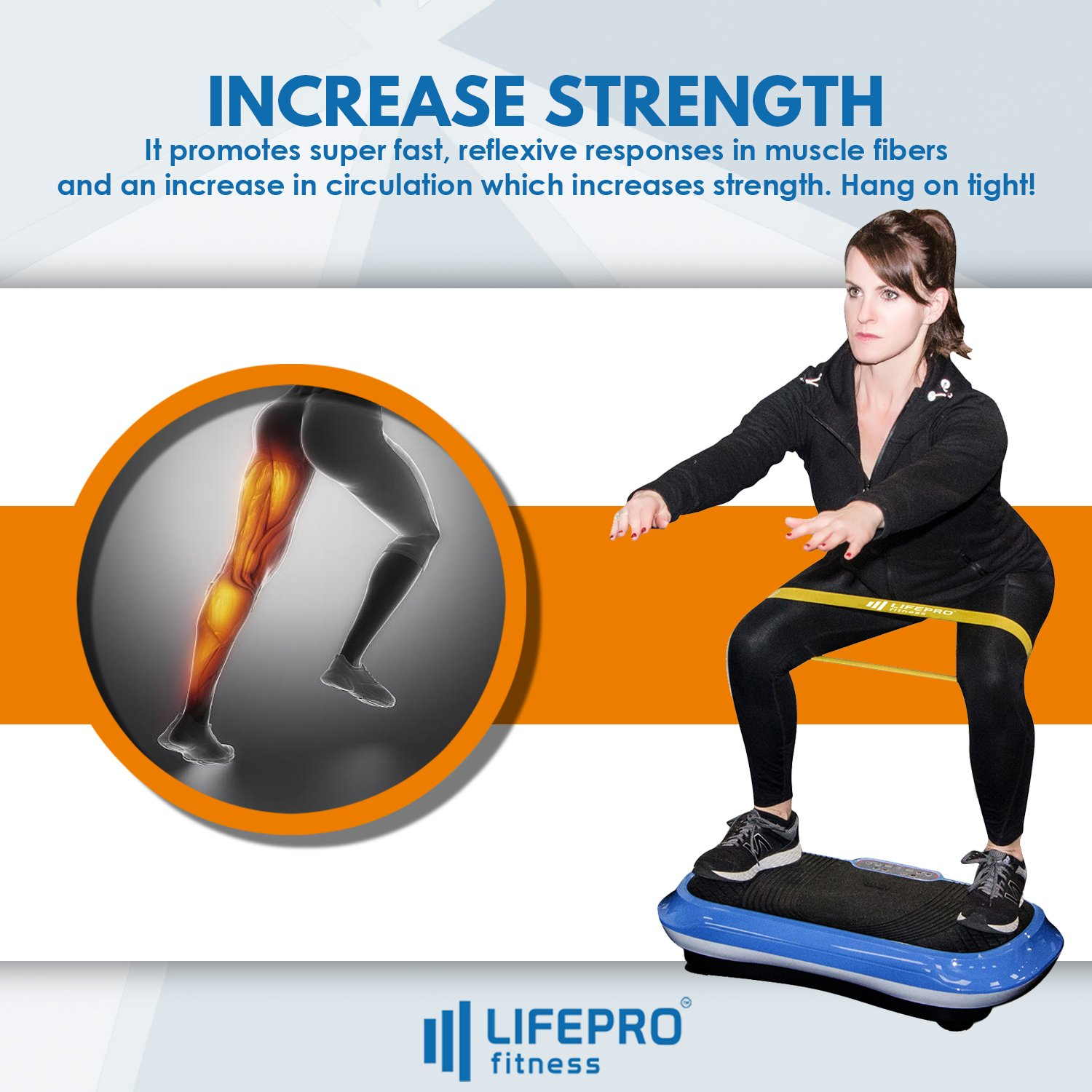 LifePro Vibration Plate Exercise Machine - Whole Body Workout Vibration Fitness Platform w/Loop Bands - Home Training Equipment for Weight Loss & Toning - Remote, Balance Straps, Videos & Manual by LifePro (Image #4)
