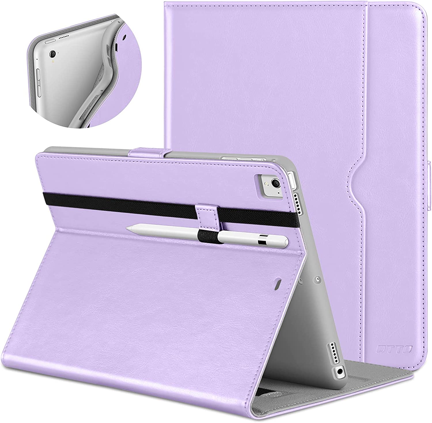 DTTO New iPad 9.7 Inch 5th/6th Generation 2018/2017 Case with Apple Pencil Holder, Premium Leather Folio Stand Cover Case for Apple iPad 9.7 inch, Also Fit iPad Pro 9.7/Air 2/Air - Lavender