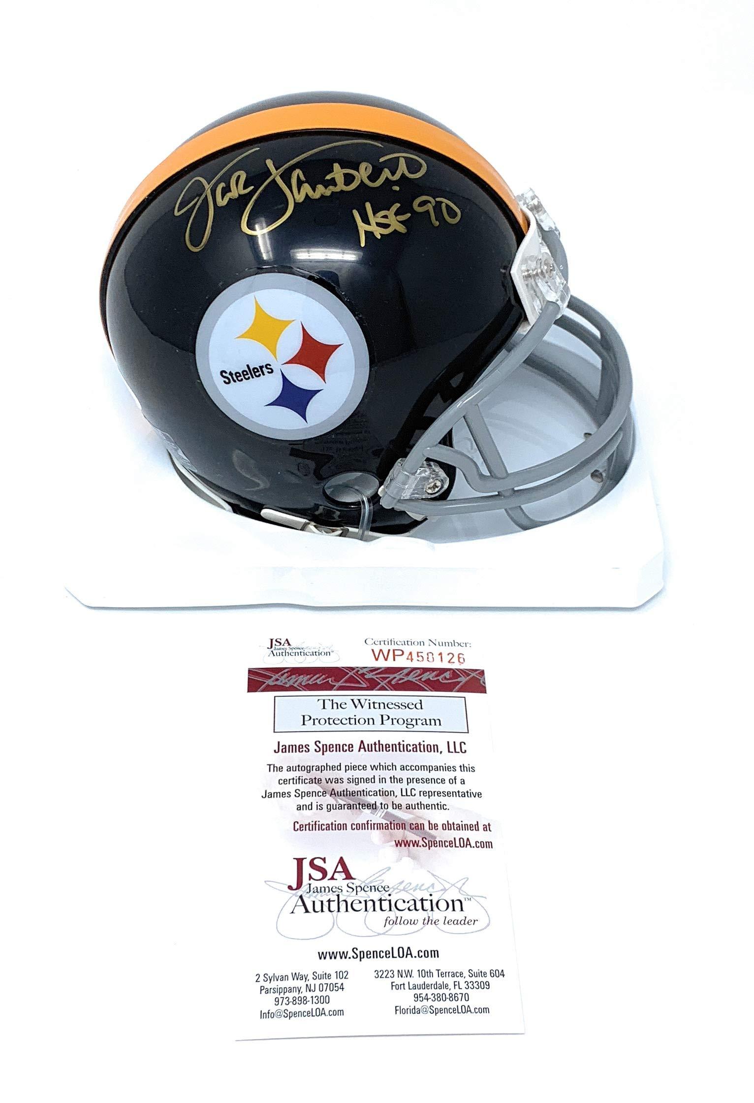 Jack Lambert Pittsburgh Steelers Signed Autograph Throwback Mini Helmet HOF Inscribed Steiner JSA Certified