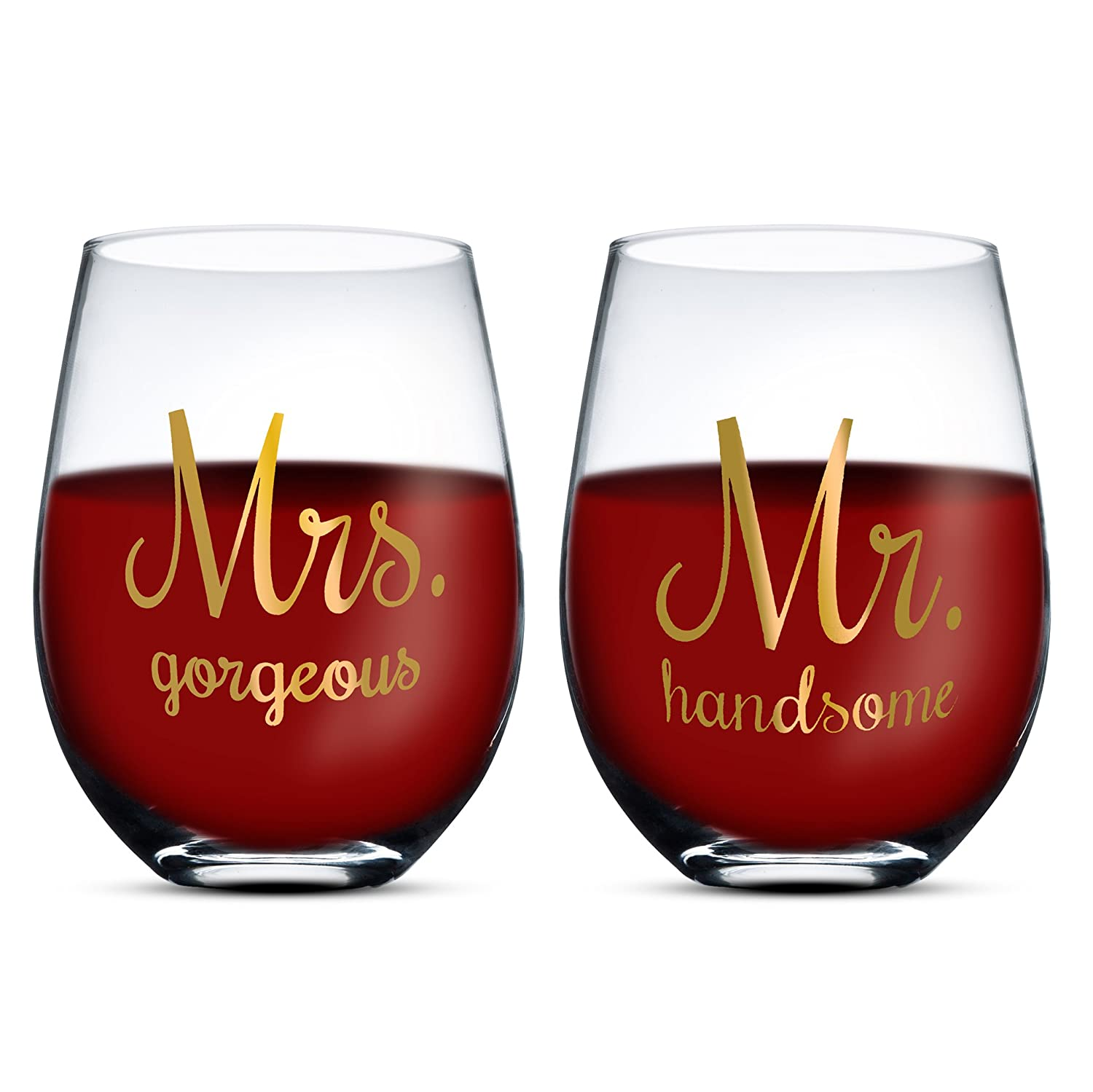 Gifffted Mr Handsome Et Mrs Gorgeous Verre à Vin, Cadeau Mariage, Couples, Femme, Fiançailles, Anniversaire, Saint Valentin, Parents, Noël, Mug 380 ML HS wine glasses for couples