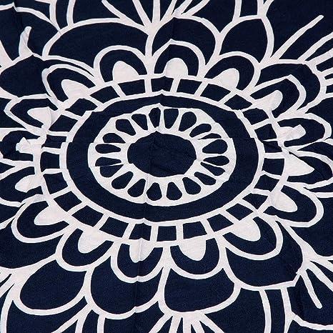 Amazon.com: YULong Round Beach Towel 150cm Polyester Beach Towel Adults Tablecloth Toalla Playa Mandala Serviette De Plage Table Cloth (Color: Navy Blue): ...