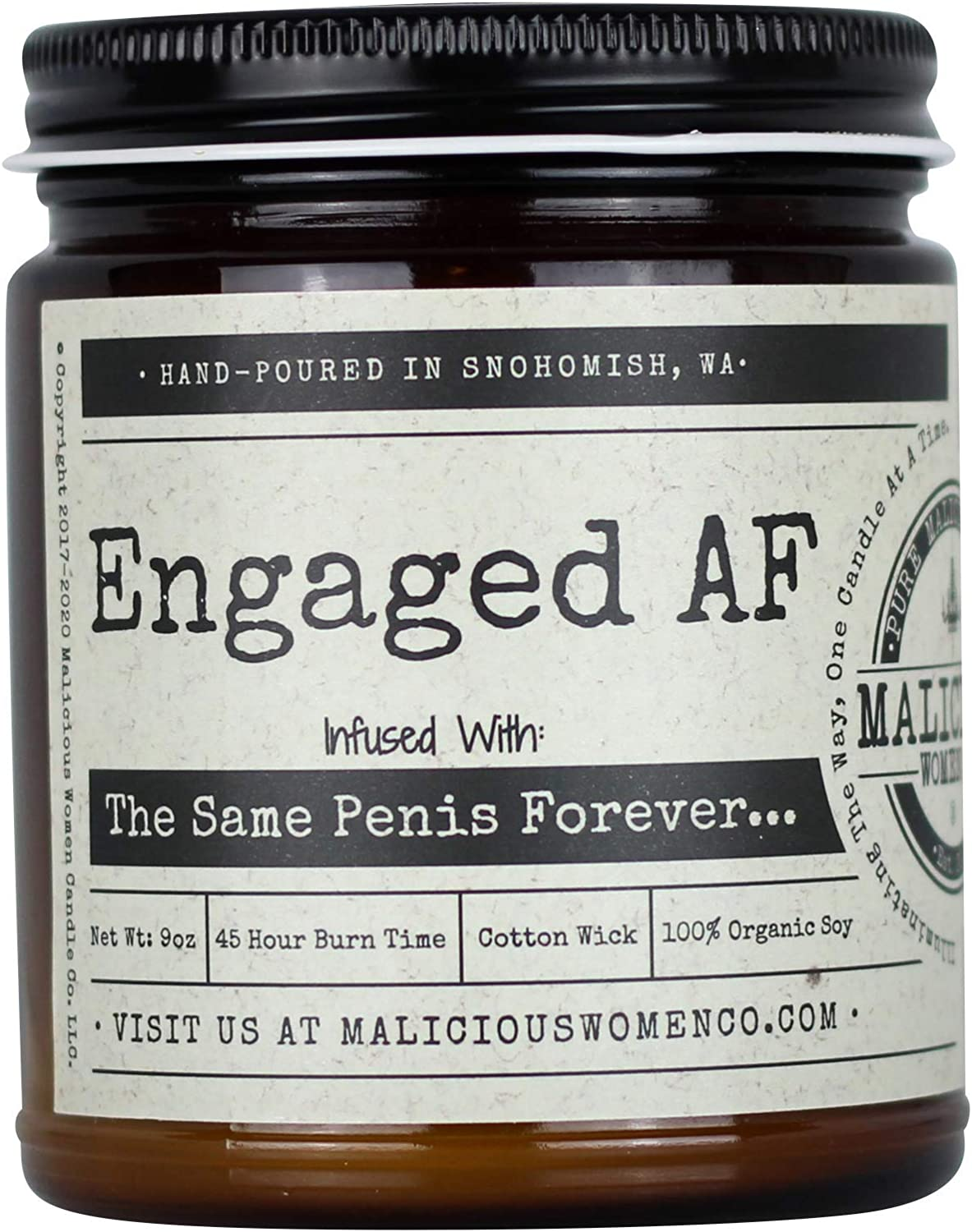 Malicious Women Candle Co - Engaged AF, Pink Champagne (Raspberry & Champagne) Infused with The Same Penis Forever, All-Natural Organic Soy Candle, 9 oz
