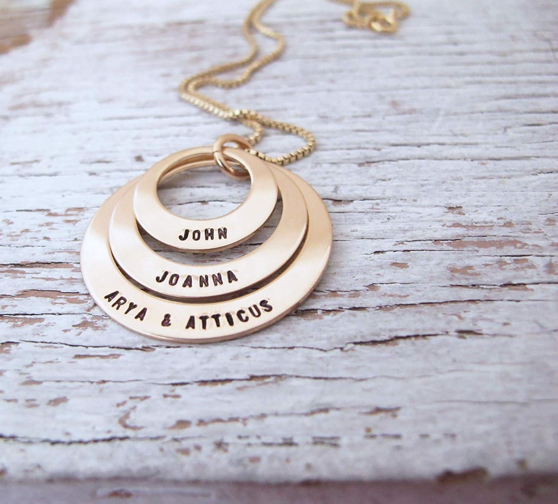 14kt Gold filled Birthstone Mother/'s Necklace Children  Grandchildren/'s Elegant Sturdy Chain Personalized Mother/'s Day Birthday Gift