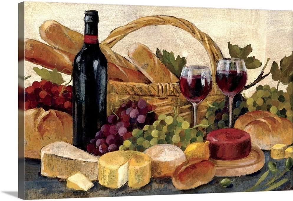 Tuscan Evening Wine Canvas Wall Art Print, Food Artwork