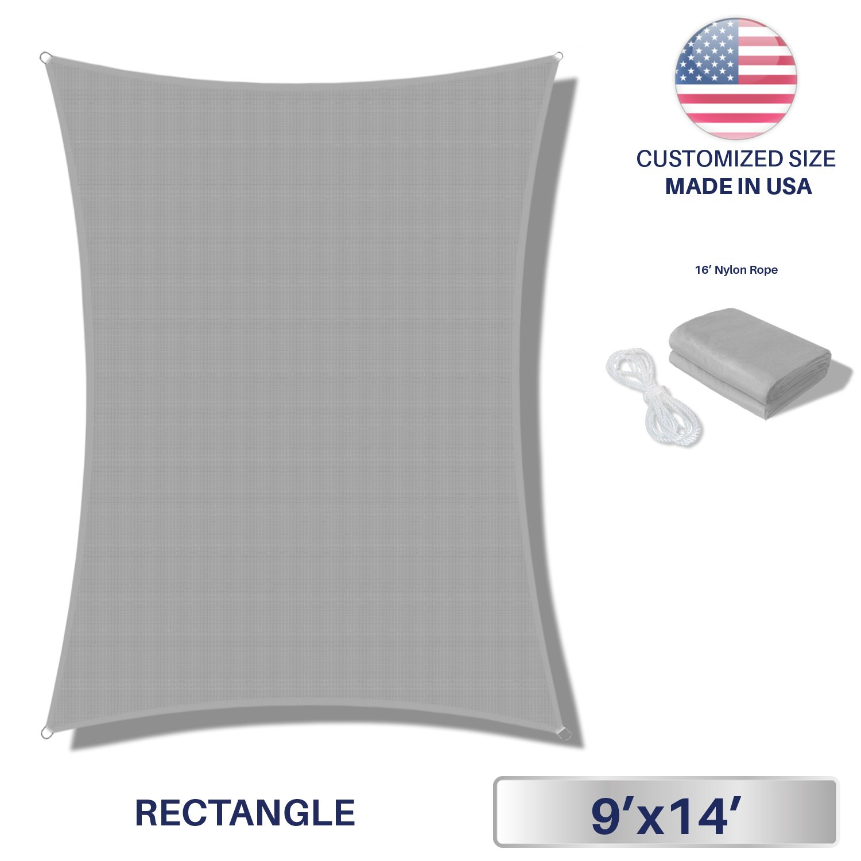 Windscreen4less Terylene Waterproof Sun Shade Sail UV Blocker Triangle Sunshade Patio Canopy Sail 9' x 14' in Color Light Grey - Customized Sizes