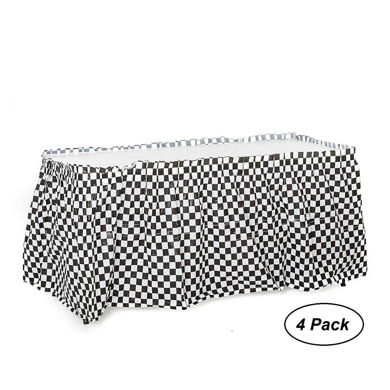 4 pack Black & White Checkered Table Skirt/Checkered Racing Table Skirt