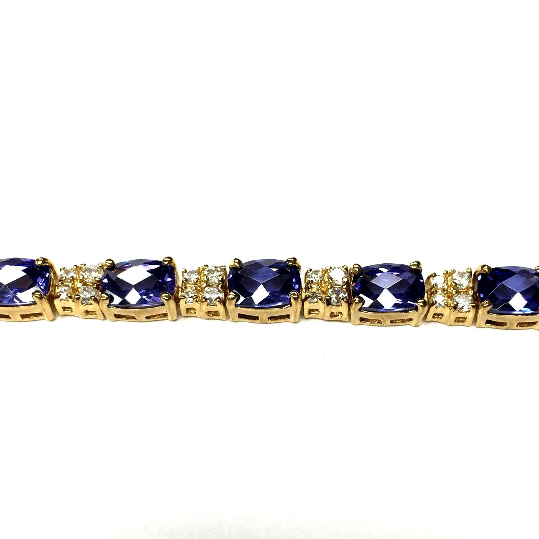 Sterling Silver Gold Plated Fancy Cut Tanzanite Cz Bracelet
