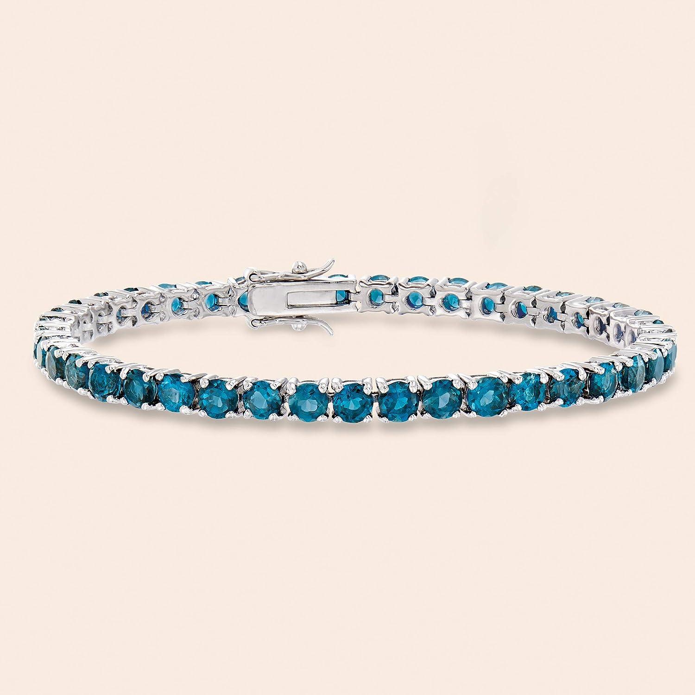 """Ross Simons Sterling Silver Bracelet 925 7"""" Blue Topaz Diamond Tennis"""