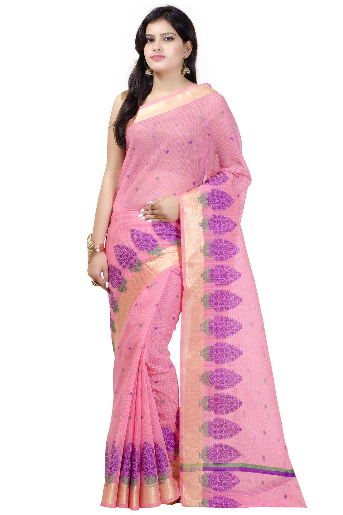 Chandrakala Women's Pink Cotton Blend Banarasi Saree