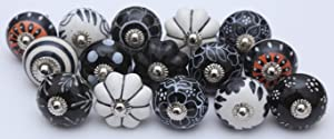 14 Black and White Ceramic Knobs Handpainted Ceramic Door Knobs Kitchen Cabinet Drawer Puller Pulls Furniture Cabinet Knobs