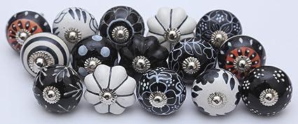 14 Black and White Ceramic Knobs Handpainted Ceramic Door Knobs ...