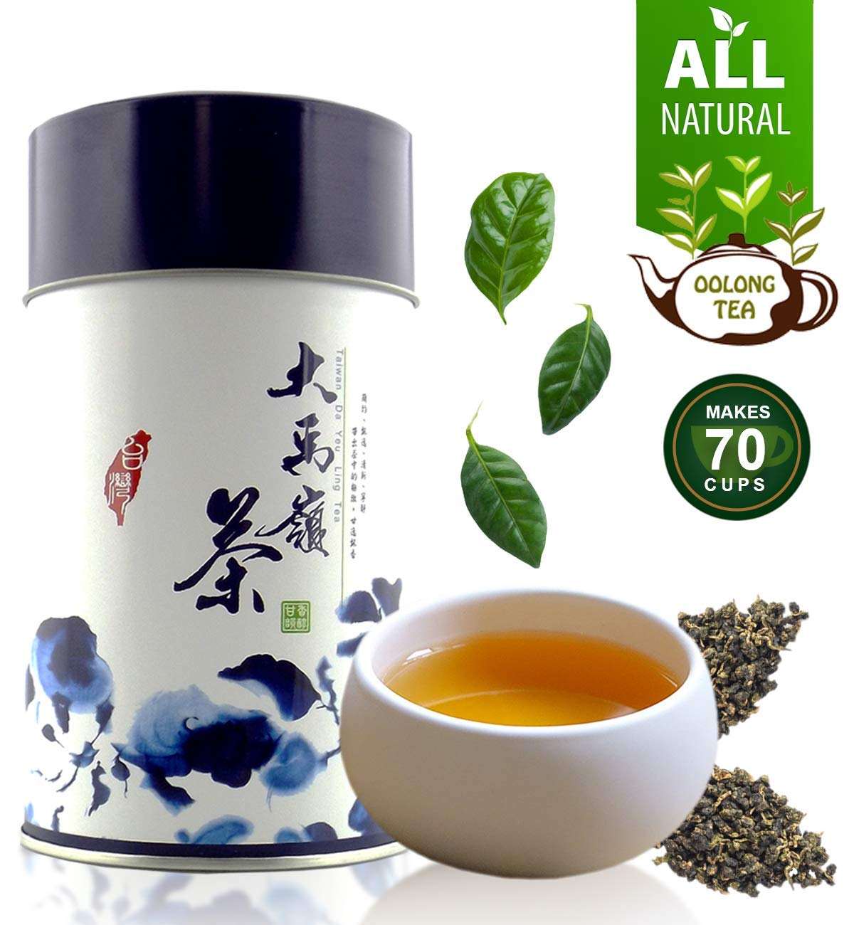 Oolong Tea Loose Leaf Hand-Picked from High Mountains Ali Shan Taiwan, Oolong Tea for Natural Detox, Improve Mental Functions, Boosts Metabolism, Helps in Weight Loss, 5.3oz Total, 2X Sealed Bags Oolong Tea by zone365