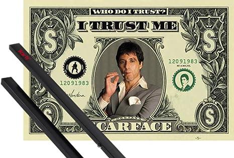 1art1 scarface poster 91x61 cm dollar bill inklusive ein paar posterleisten schwarz