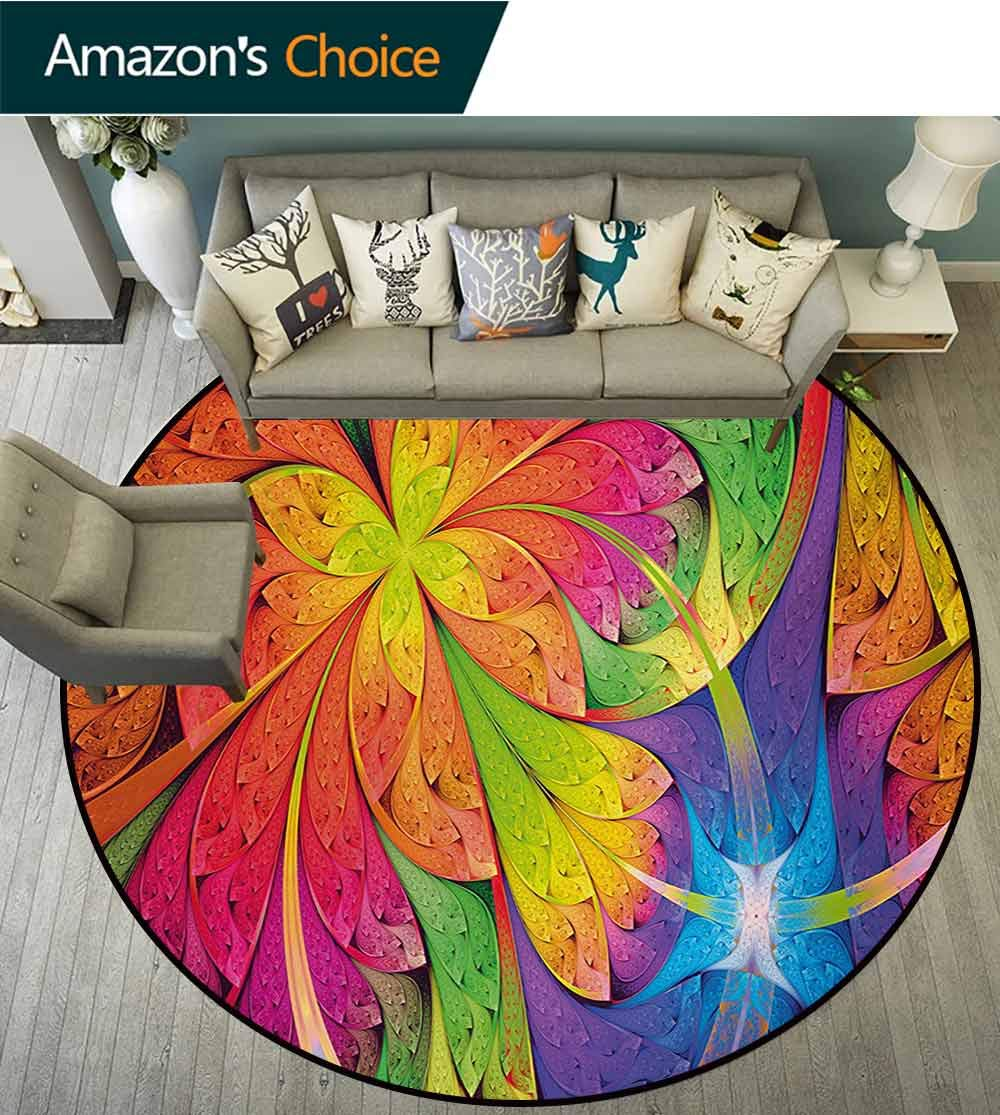 RUGSMAT Fractal Modern Machine Round Bath Mat,Vibrant Rainbow Colored Floral Pattern with Vivid Contrast Curved Leaves Artisan Print Non-Slip No-Shedding Kitchen Soft Floor Mat,Diameter-35 Inch by RUGSMAT (Image #3)