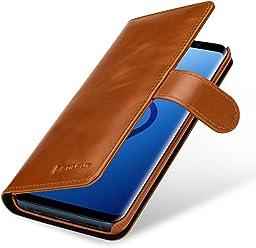StilGut Housse pour Samsung Galaxy S9 Plus Porte-Cartes en Cuir véritable à Ouverture latérale et Languette magnétique, Cognac