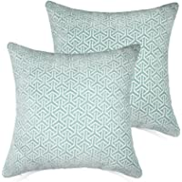 Set of 2 Throw Pillow Covers Coastal Cushions 100% Cotton Home Decorative 20 * 20 inch Soft Pillow Case Covers Invisible Zipper Pillow Case No Pillow Insert Furniture Cushions (Blue(20 * 20 in))