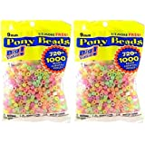 Darice Value Pack Pony Bead, 9mm, Glow in The Dark, 1000-Pack (2 packs)