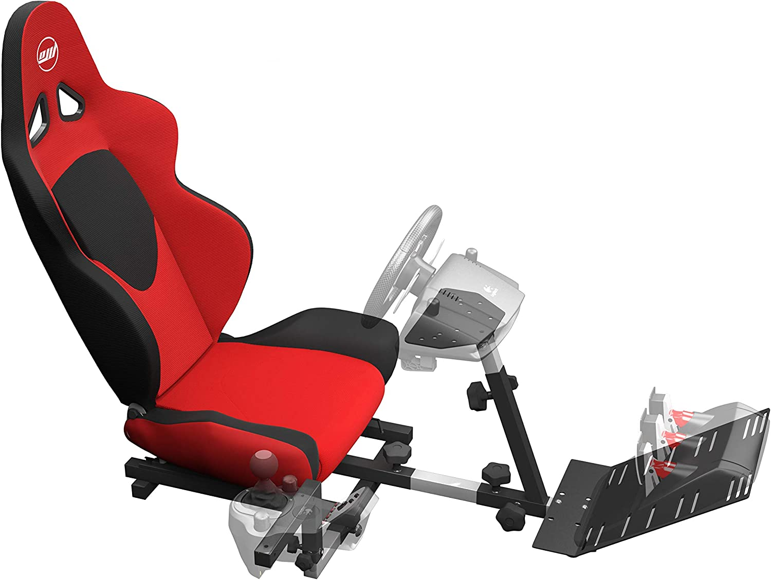 OpenWheeler Racing Wheel Stand Cockpit Red on Black | for Logitech G29 | G920 and Logitech G27 | G25 | Thrustmaster | Fanatec Wheels | Racing Wheel & Controllers NOT Included OW-GV1FR
