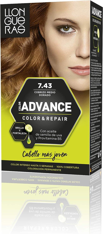 Llongueras Advance Tinte de Cabello Permanente Tono #7.43 Cobrizo Medio Dorado