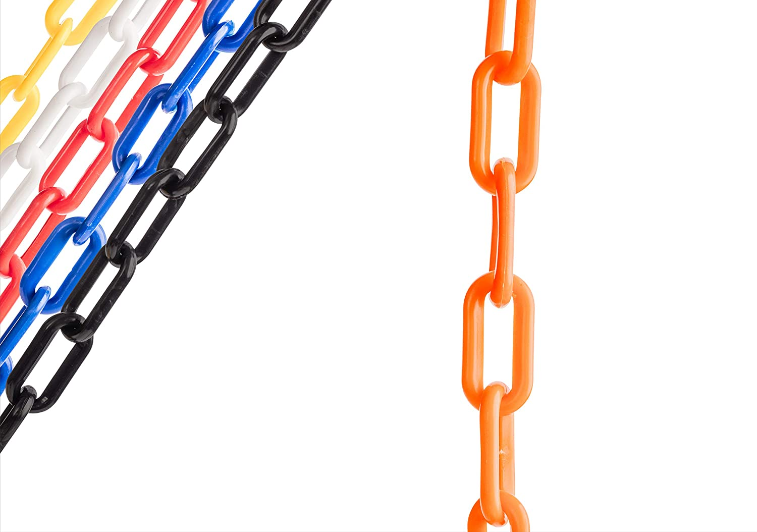 US Weight 50 FT Orange, 2-Inch Plastic Chain Links, Plastic Safety Barrier Chain Featuring SunShield UV Resistant Technology
