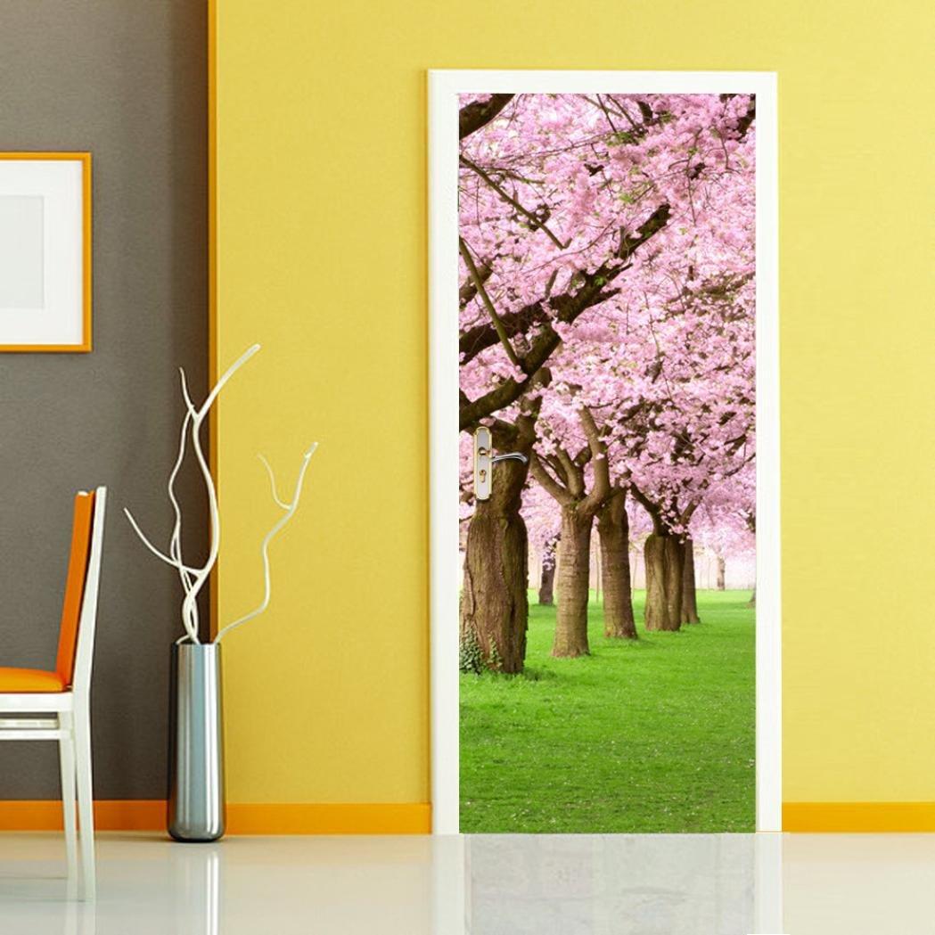 Amazon.com: CYCTECH Modern Mirror Style 3D Cherry Blossoms Door Wall ...