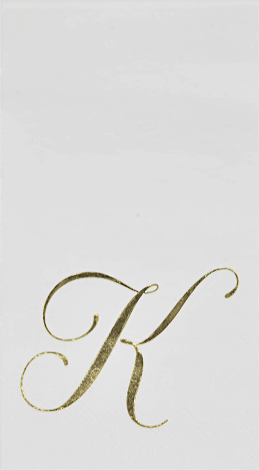 100 Gold Monogram Guest Napkins Letter K Disposable Paper Pack Elegant Metallic Golden Foil Dinner Hand Napkin for Bathroom Powder Room Wedding Holiday Birthday Party Baby Shower Decorative Towels