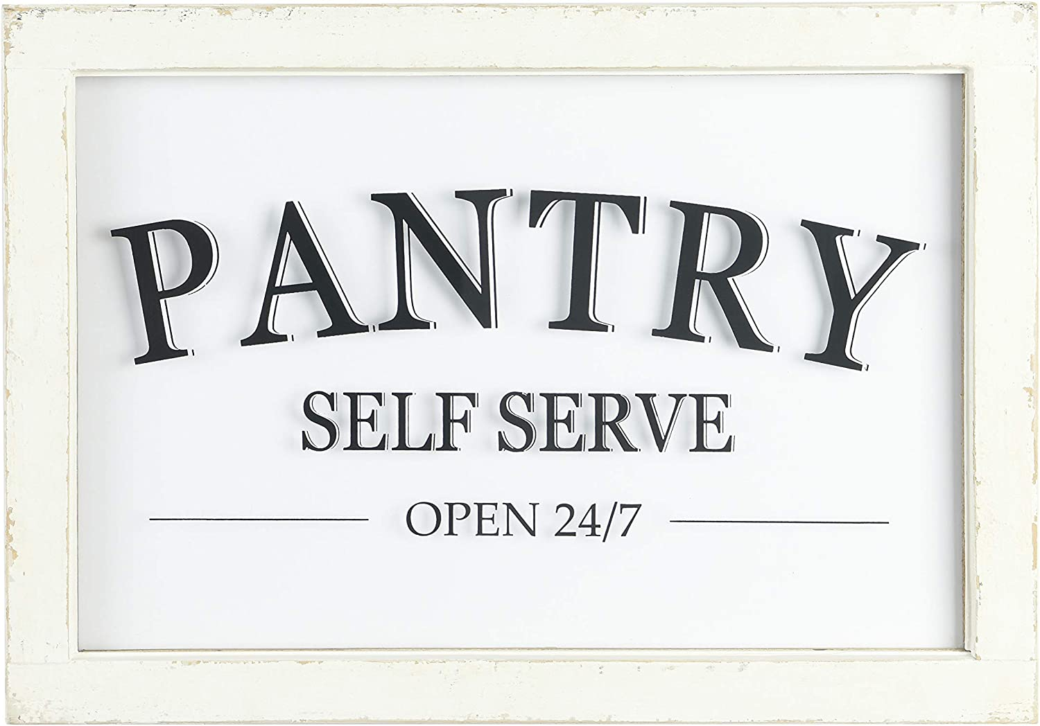 Creative Co-op Distressed Wood Framed Pantry Sign Wall Decor, White